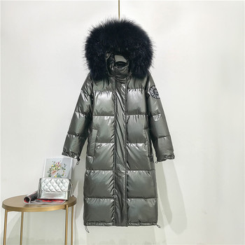 Big Real Raccoon Fur Collar 2019 Hooded Winter Jacket Women Long  White Duck Down Parkas Coat Female Loose Thick Warm Outwear 4