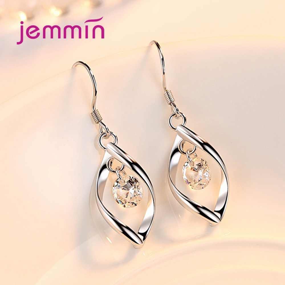 Frauen Elegante Waterdrop Strass Anhänger Halskette Haken Ohrringe Schmuck Set 925 Sterling Silber Schmuck für Hochzeit Party