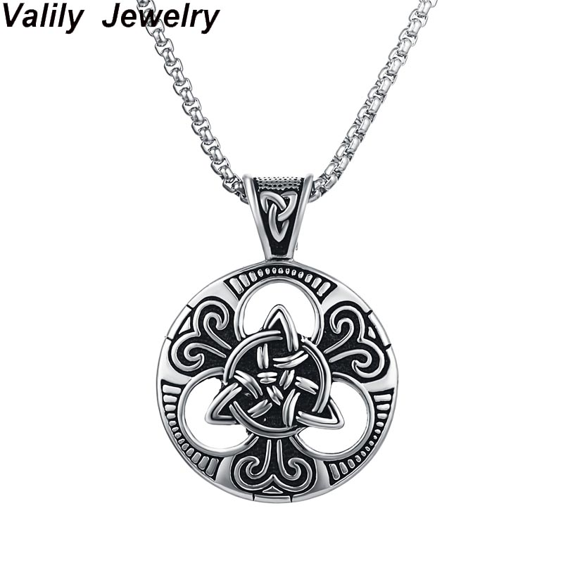 Men's silver Irish Knot Triquetra Pendant Necklace Stainless Steel Punk Vintage Celtics Trinity Necklace jewelry for Men