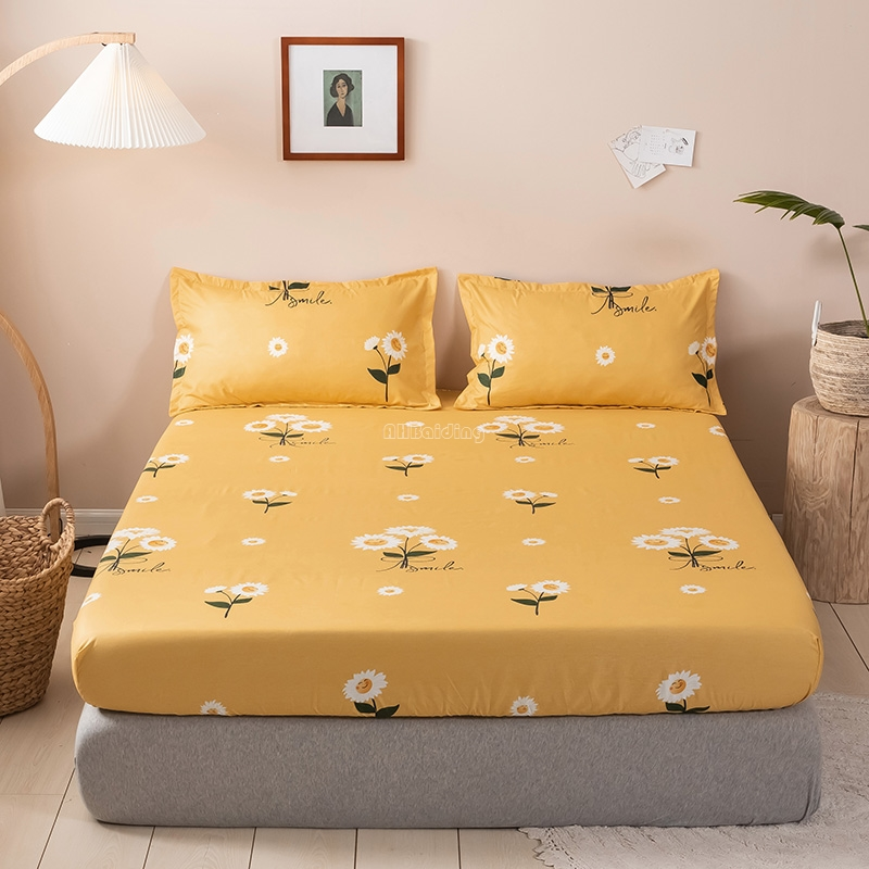 Yellow Sunflower Printed Fitted Sheet Adult Kids Cute Flower Bed Sheet with Elastic Band 120*200cm 150*200cm 180*200cm 200*220cm image