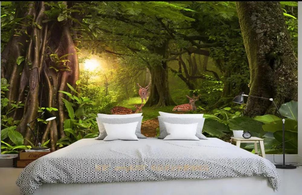 3d фрески обои для гостиной лес ботанический сад лес Солнечный свет фоновая стена