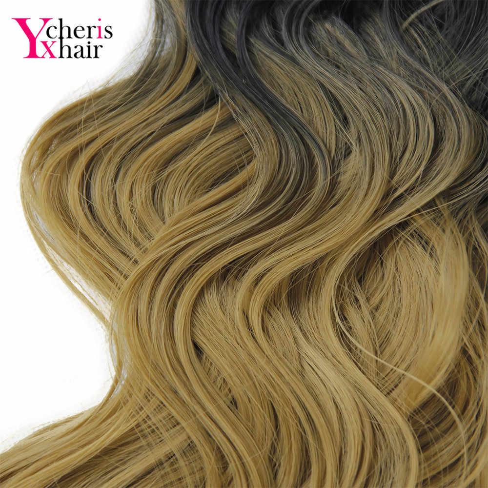 """YXCHERISHAIR 1 шт./упак. Клип в синтетическом теле волна хвосты 18 """"длинные натуральные черные коричневые блонд Омбрэ шиньон"""