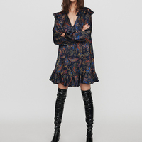 Women Dress 2019 Autumn / Winter New V neck Paisley Printed Ruffled Long Sleeve Casual Women's Dress Fashion Mini Dresses