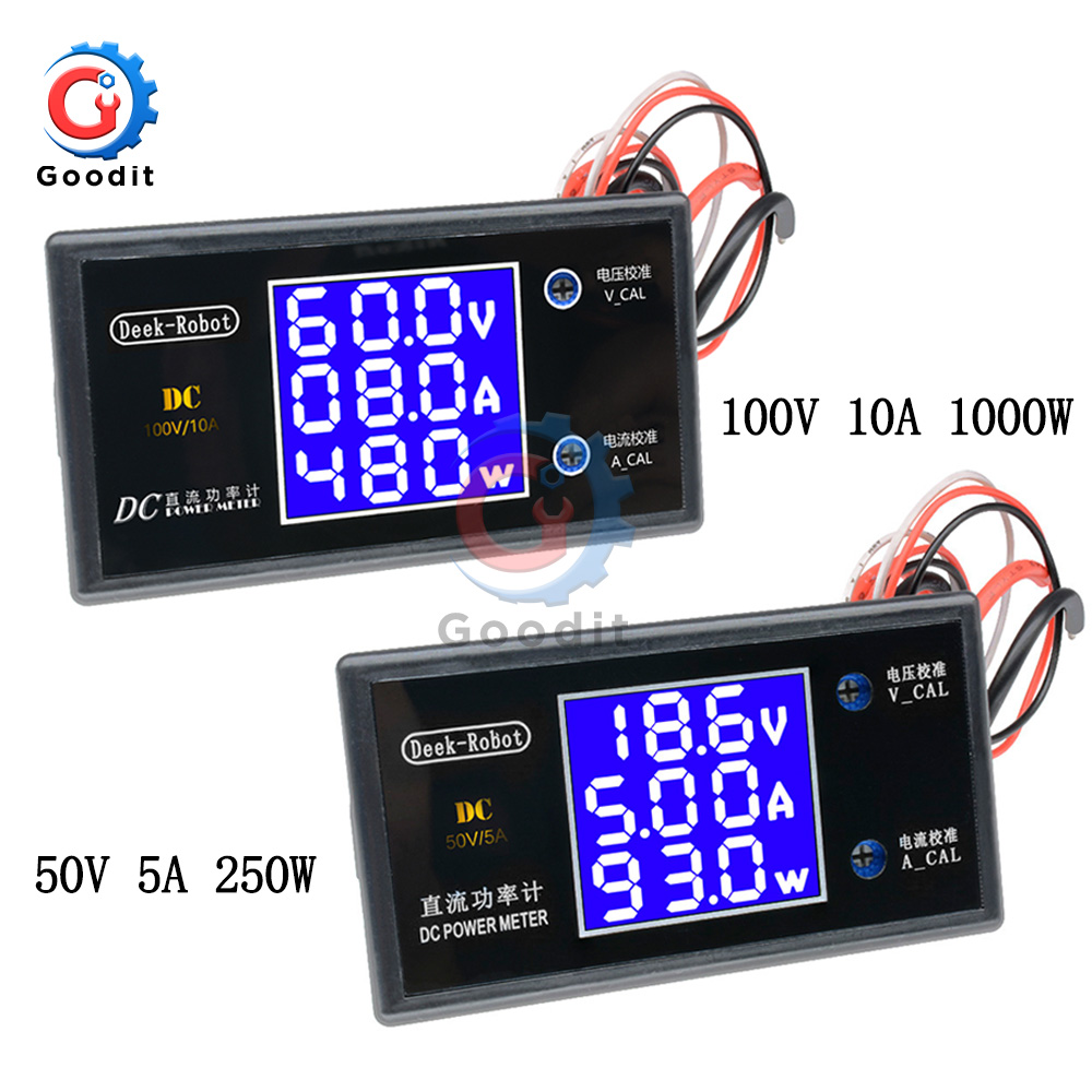 Цифровой вольтметр, амперметр постоянного тока 0-100 в, 5 А, 10 А, 250 Вт, 1000 Вт, ЖК-дисплей