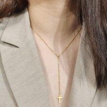 DOTIFI для женщин крест кулон Длинная цепочка ожерелье из нержавеющей стали новый дизайн золотые и серебряные ювелирные изделия T47