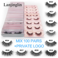 wholesale bulk mink eyelashes 20/30/40/50/100 pairs natural long false eyelash extension fluffy 3d faux lashes 100% cruelty free