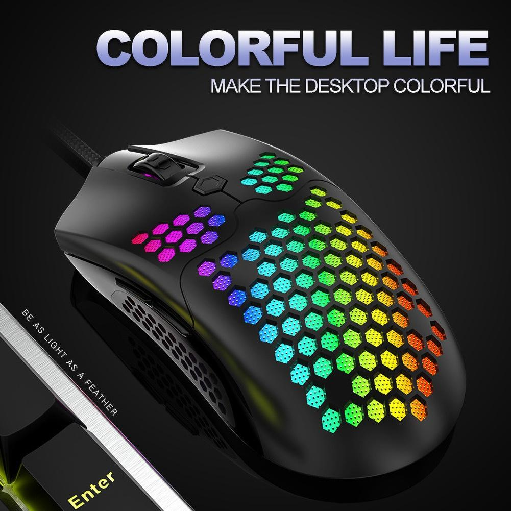 M5 Hollow Out RGB Lights 16000DPI 7 Buttons Wired Gaming Mouse for PC Computer for PC Gamer White Black DropShip image