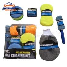 Wheel-Brush-Pad Wash-Gloves Car-Wash Mitt Microfiber-Towel Cleaning-Tool 9piece-Care