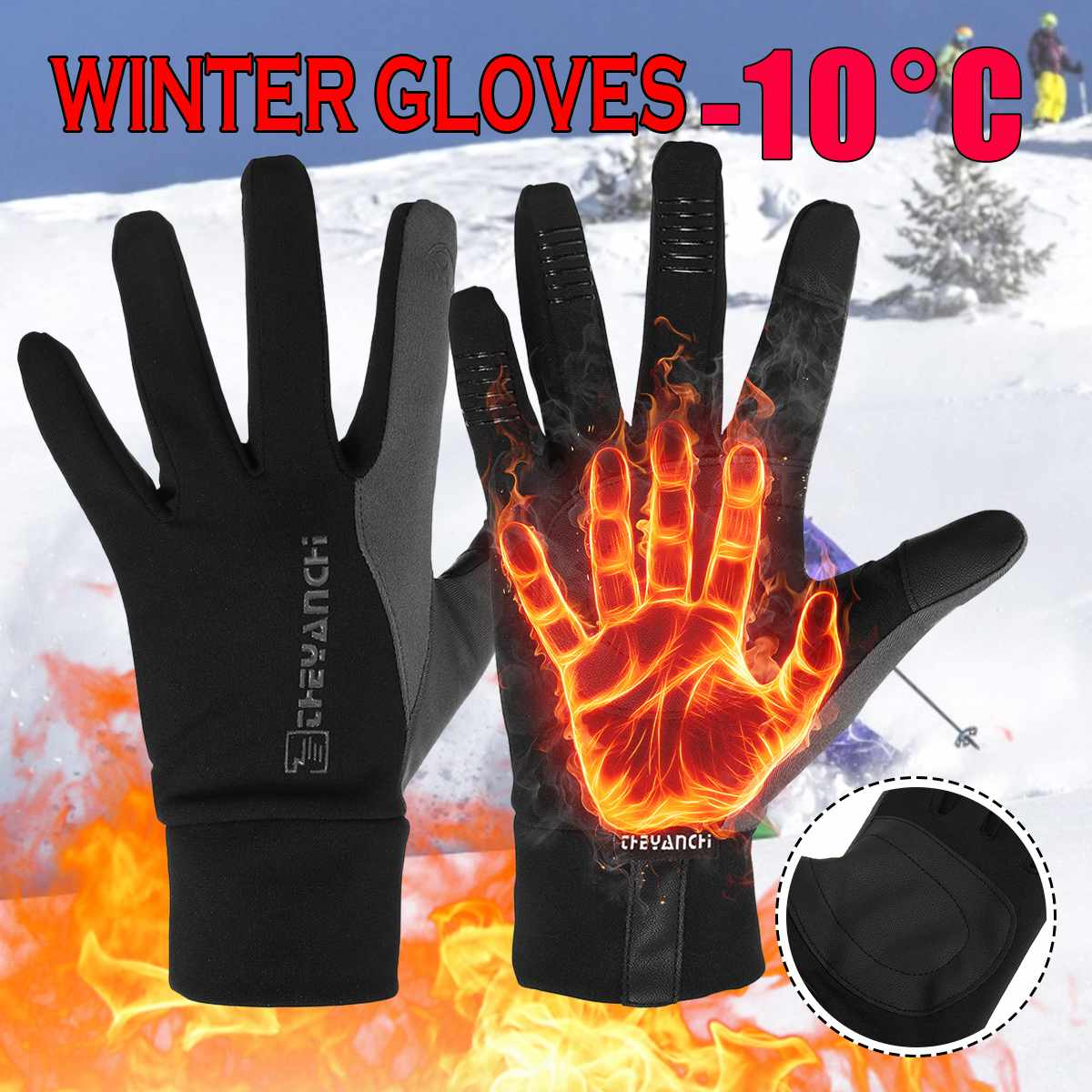 Heated Waterproof Winter Gloves Fluff Warm Gloves Touch Screen Anti Slip Sport Riding Cycling Skiing Gloves Unisex