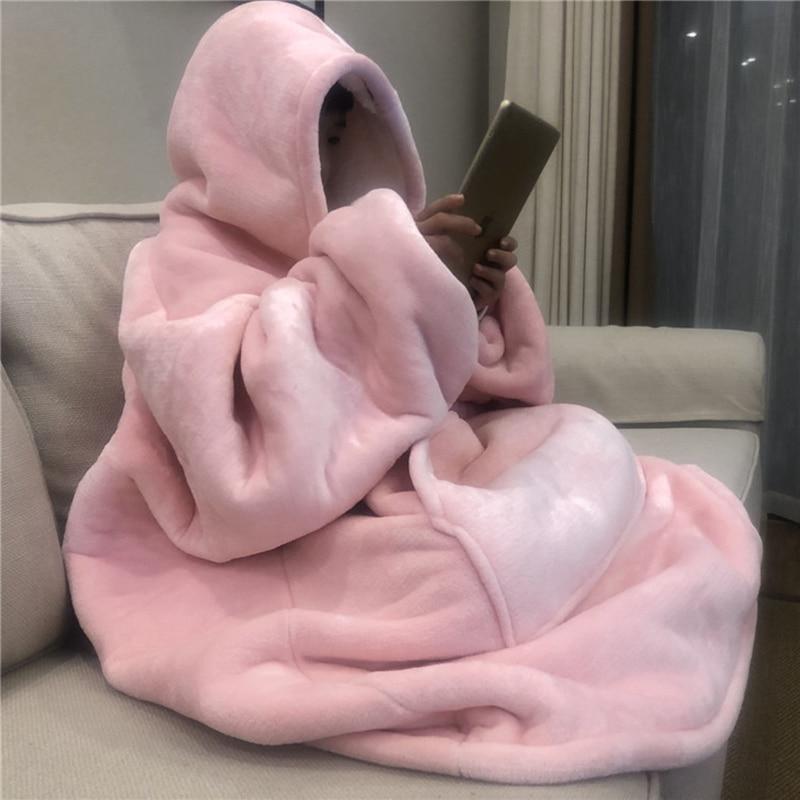 Winter Warm TV Sofa Blanket with Sleeves Fleece Pocket Hooded Weighted Blanket Adults Kids Oversized Sweatshirt Blanket for Bed-0