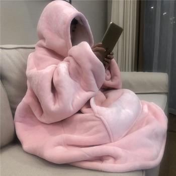 Winter Warm TV Sofa Blanket with Sleeves Fleece Pocket Hooded Weighted Blanket Adults Kids Oversized Sweatshirt Blanket for Bed