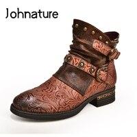 Johnature cuir véritable rétro 2020 nouveau automne hiver femmes chaussures plate-forme bottes bout rond talon carré Rivet fermeture éclair bottines