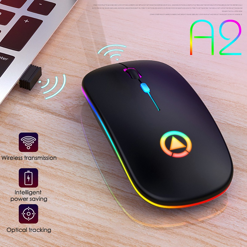 For Laptop PC Lightweight Mouse Portable Colorful Light Bluetooth Rechargeable Mute Wireless Office Buisiness Mouse 4 Colors