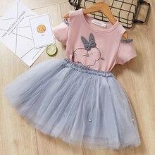 Zestaw Wiosna Lato bluzka+spódnica tiulowa dla dziewczynki