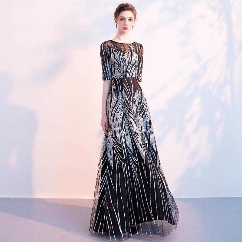 Banquet Evening Dress Women's 2019 New Style Nobility Elegant Black Long Dignified Glorious Half-sleeve Shirt Debutante Dress Au