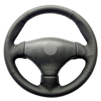 Czarne prawdziwa skóry ręcznie szyte osłona na kierownicę do samochodu dla Peugeot 206 1998-2005 206 SW 2003-2005 206 CC 2004 2005 tanie i dobre opinie CN (pochodzenie) Kierownice i piasty kierownicy