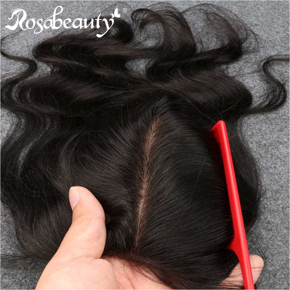 RosaBeauty Silk Base Closure Body Wave Wave 4x4 Remy Human Hair Closure Bleached Knots Nature Color Free shipping