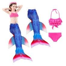 2019 HOT3PCS/Set Kids Girls Mermaid Tails Swimsuit Bikini Bathing Suit Dress for With Flipper Costumes Swimming