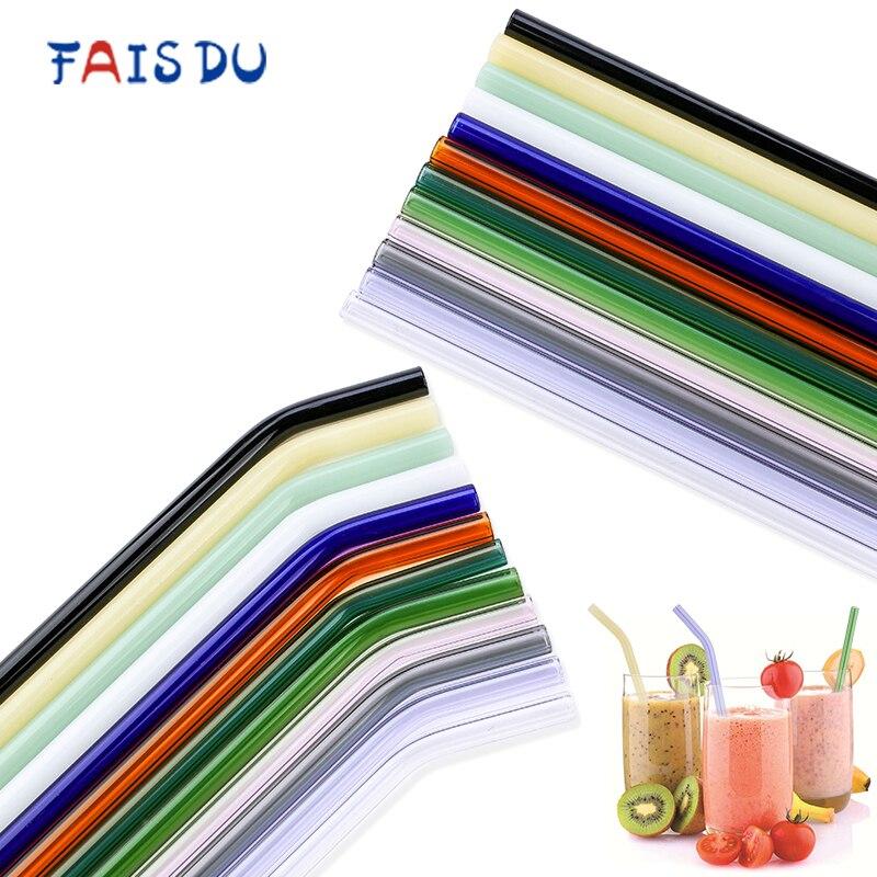4 Uds vaso pajillas reutilizables de vidrio para beber tubo elegante colorido rectas curvadas pajitas con cepillo de limpieza accesorio de barra de fiesta