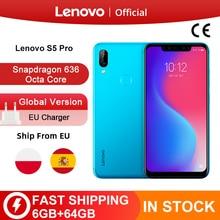 Глобальная версия Lenovo S5 Pro 6 Гб 64 Гб Snapdragon 636 Octa, четыре ядра, смартфон с функцией отпечатков пальцев (20MP Quad камеры 6,2 дюймов Octa Core 4 аппарат не привязан к оператору сотовой связи телефонов