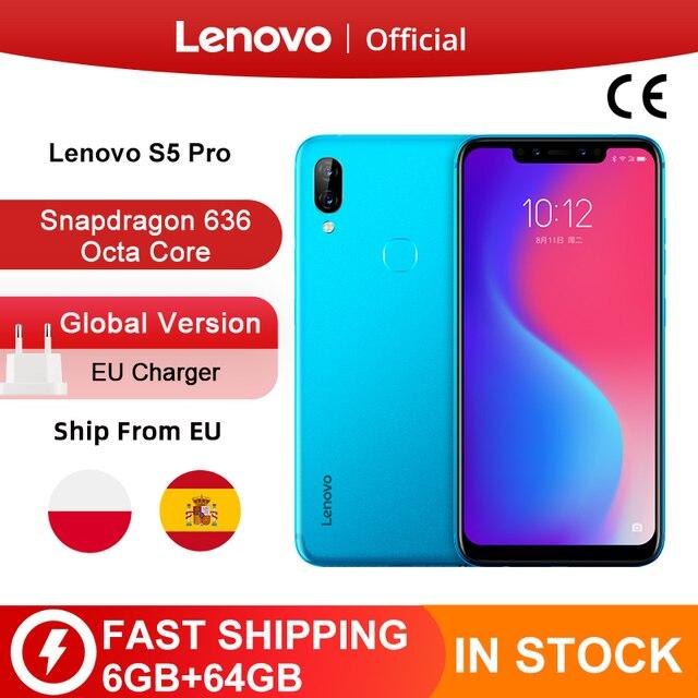 グローバルバージョンレノボS5 プロ 6 ギガバイト 64 バイトのsnapdragon 636 オクタコアスマートフォン 20MPクワッドカメラ 6.2 ギガバイトコア 4 4g lte携帯電話