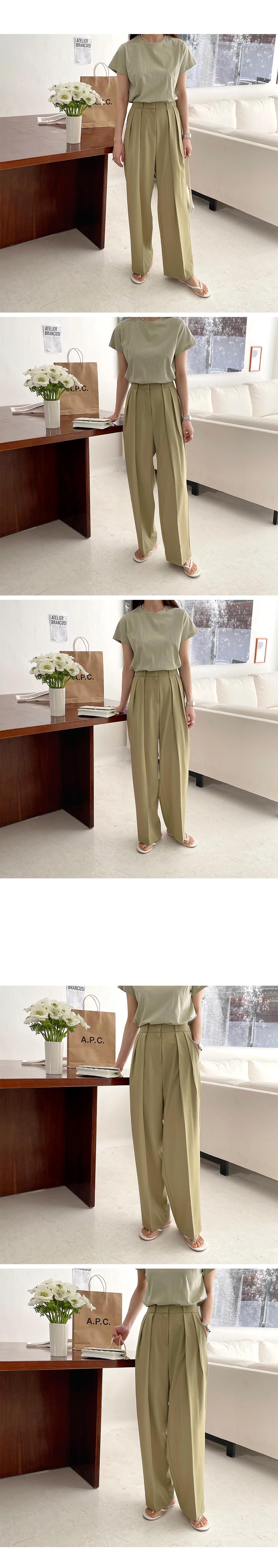 H886154b0a55048c68c7526a9a87814d3X - Summer Korean High Waist Loose Folds Wide Leg Solid Suit Pants