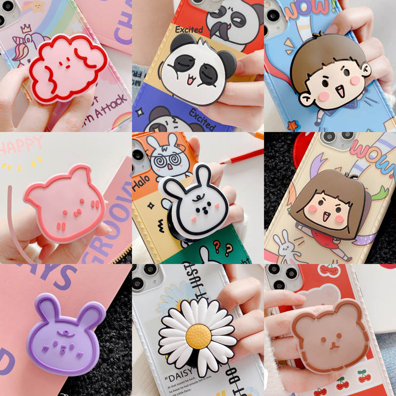 Universal Mobile Phone Bracket Cute Cartoon Fold Expanding Stand Finger Holder For Iphone Samsung Huawei Xiaomi Silicagel Holder