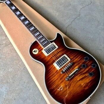 Custom electric guitar,Sunburst color Tiger Flame gitaar,Chrome hardware.Rosewood fingerboard.Mahogany body new style china custom f hollow body jazz electric guitar sunburst color jazz guitarra vibrato system