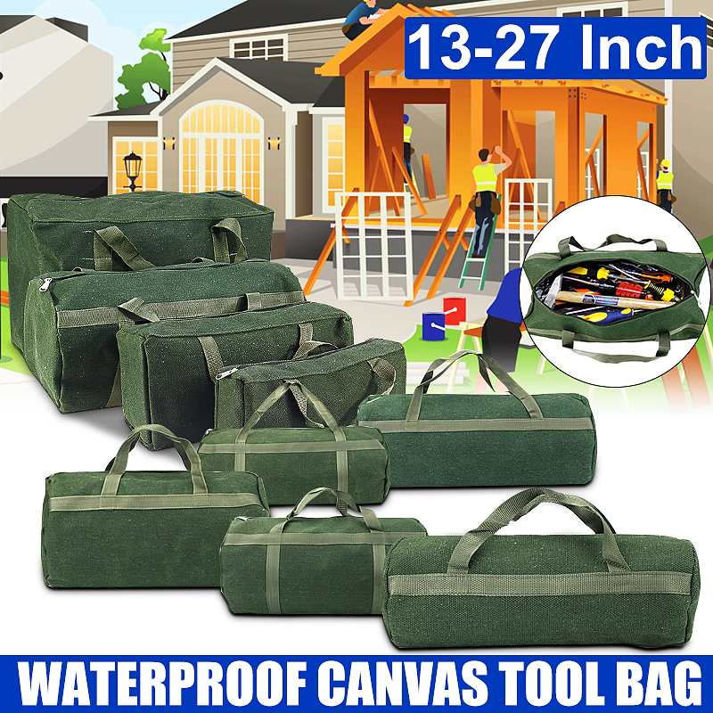14/15/16/22 Inch Large Capacity Tool Bag Durable Canvas Waterproof Tool Bag Metal Screws Drill Plier Wrench Organizer Pouch Case