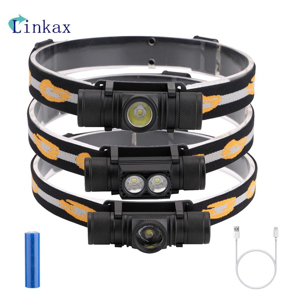 3800LM XM-L2 LED Headlamp  6 Modes USB Rechargeable Flashlight 18650 Battery Headlamp For Camping Fishing Hunting Light