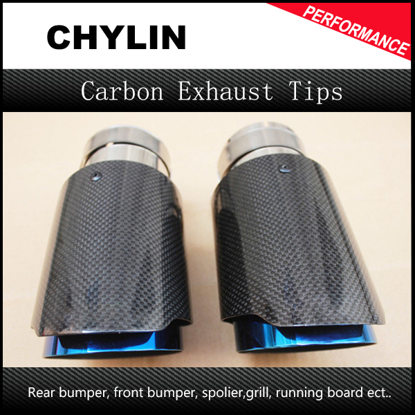 Free Shipping 2PCS Ak Car Bright Carbon Fiber Exhaust End Pipes Single Muffler Tips