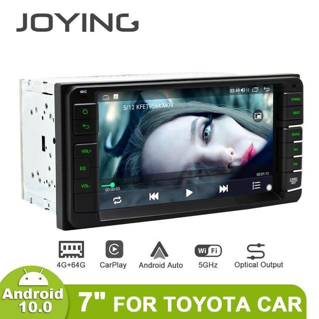 """Joying 7 """"タッチスクリーンアンドロイド10自動2喧騒車のラジオステレオautoradioヘッドユニットgpsトヨタ車4ギガバイト64ギガバイトcarplay"""