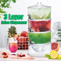 3 Layers Cold Drink Juice Dispenser Lemonade Beverage Cooler Holder With Taps 3.5L Large Capacity Container Bar Tools Barware