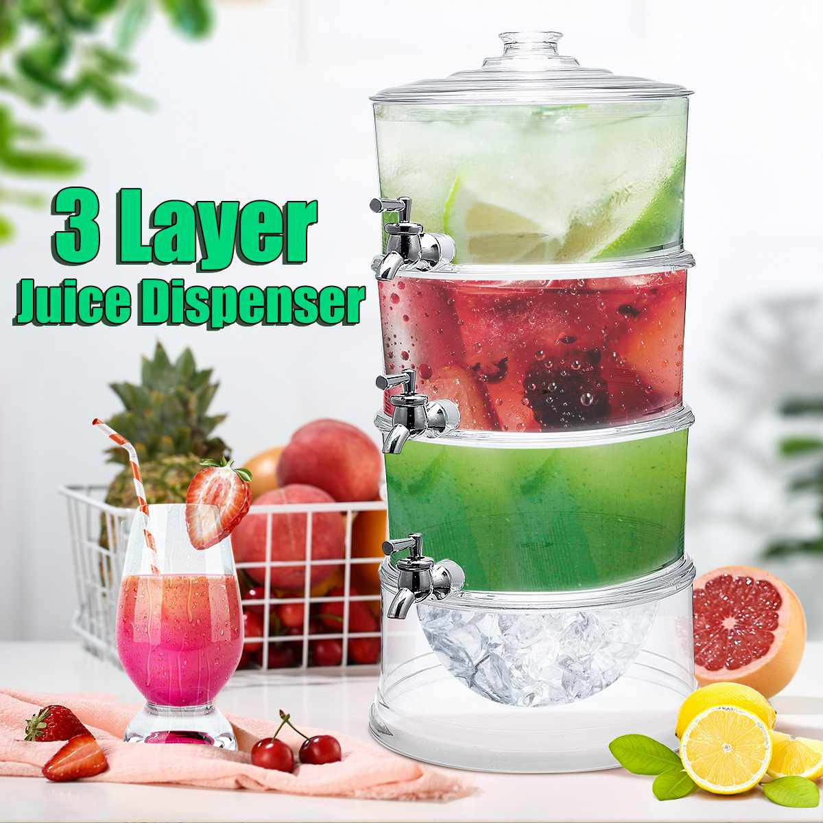 3 couches distributeur de jus de boisson froide limonade boisson refroidisseur titulaire avec robinets 3.5L grande capacité conteneur Bar outils Barware