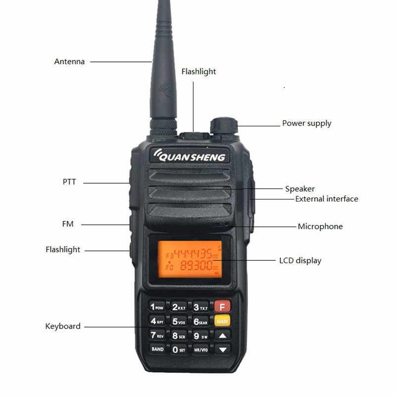 2 предмета в комплекте, QUANSHENG, TG-UV2 плюс иди и болтай Walkie Talkie 10 Вт 4000 мА-ч Дальность радиочастотный трансивер UHF 5 полос полиции сканер Любительское радио, Си-Би радиосвязь станция 200CH