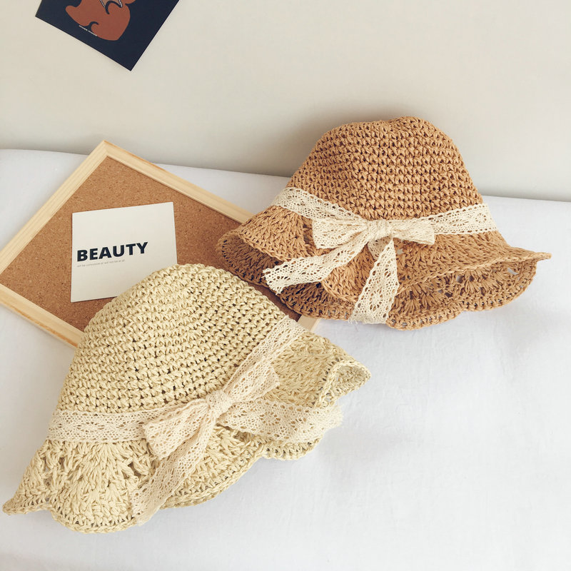 2020 The New Style Solid Color Lace Handmade Straw Hat Foldable Sun Hat Outdoor Travel Hat For Children Boy And Girl 02