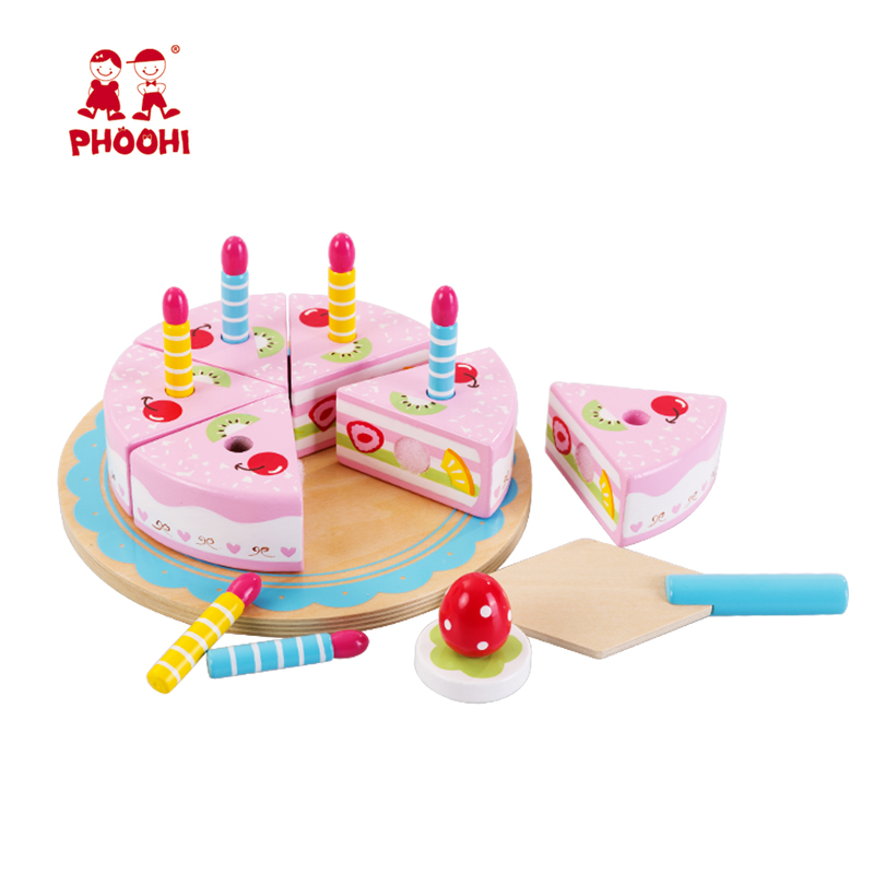 Wooden Kitchen Toys Cake Food DIY Pretend Play Cutting Birthday Toys For Children Plastic Educational Baby Kids Gift