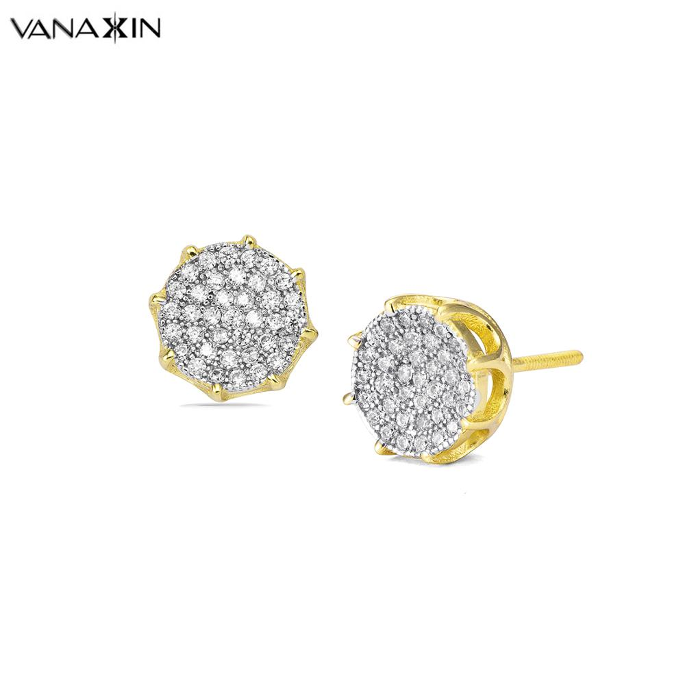 VANAXIN 925 Sterling Silver Stud Earrings Wanita Emas / Silver Warna Pusingan Paved Kubik Zirkon Bling Bling Earring Girl Kualiti Tinggi