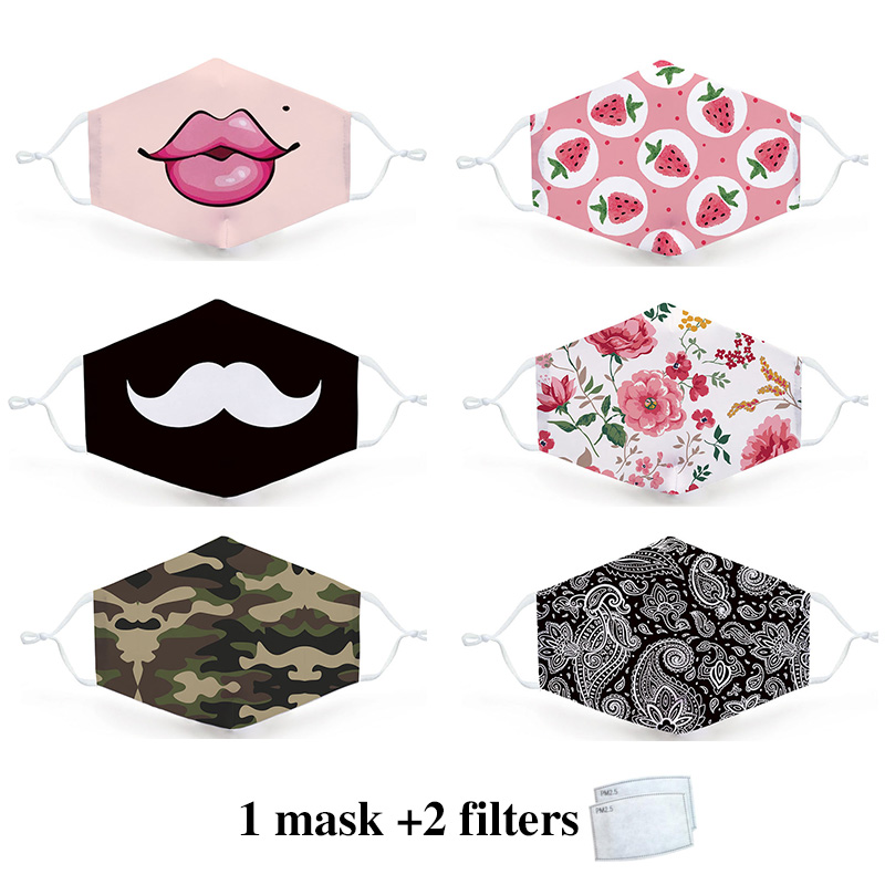 3D Fashion Mask Breathable Washable Reusable Mascarillas Cute Print Mouth Mask For Men Women-with Free PM2.5 Replaceable Filter