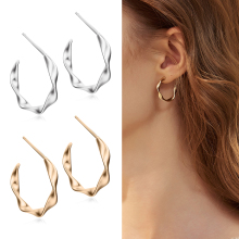 2019 New Fashion Stud Earrings Women Matte Geometric Twisted Big Hoop Circle Jewelry
