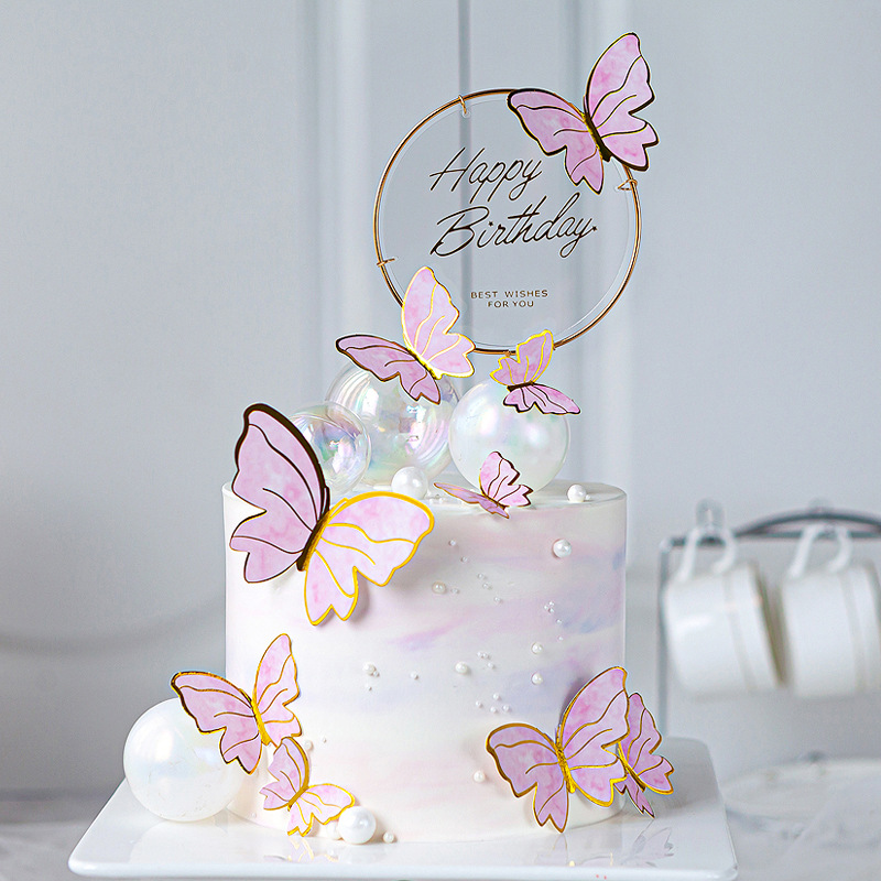 Butterfly Cake Toppers Happy Birthday Cake Toppers Valentine Cake Decoration DIY Painted For Wedding Birthday Party Baby Shower