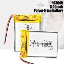 Bateria recarregável do polímero do li-po das pilhas do li-íon 1200mah li-po da bateria 103040 para o fone de ouvido de bluetooth de mp3 mp4 dvd gps