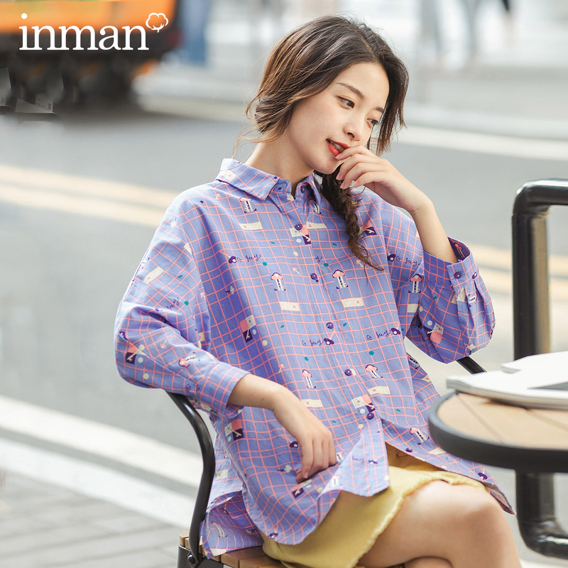 INMAN 2023 Spring New Arrival Cotton Printed Lapel Maiden Age-reducing Nifty Loose Long Sleeve Blouse