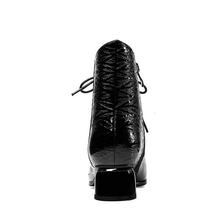 MLJUESE 2020 kadın yarım çizmeler inek deri şarap kırmızı renk lace up sivri burun kış kısa peluş yüksek topuklu bayan botları boyutu 42
