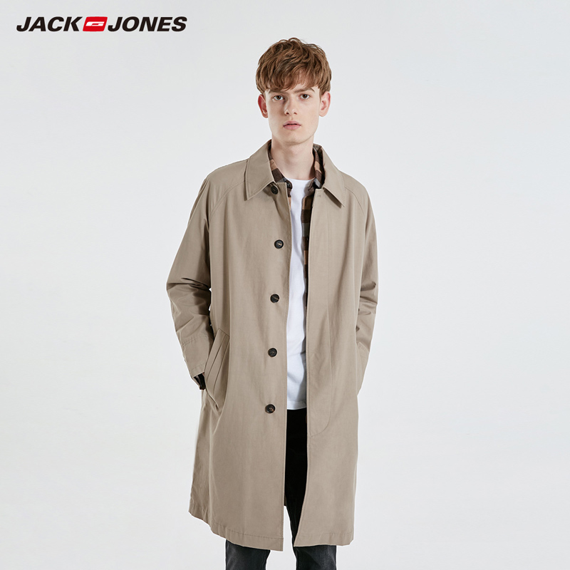 JackJones Men's Slim Fit Mid-length Pure Color Lapel Trench Coat Menswear| 219121528