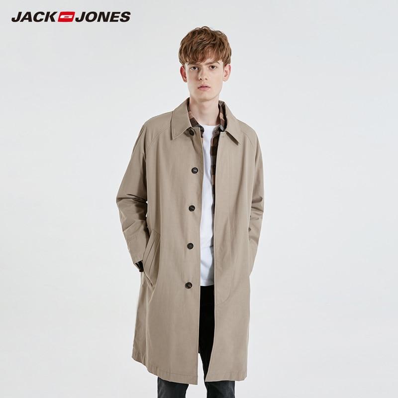 JackJones Men's Slim Fit Mid-length Pure Color Lapel Trench Coat Menswear| 219121528