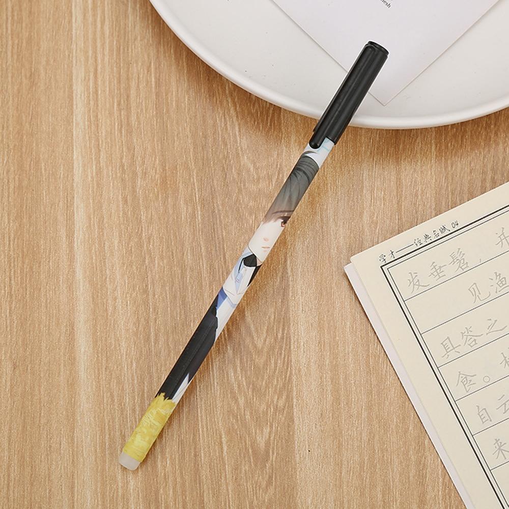 Купить с кэшбэком 4 Pcs Creative Cartoon Character Erasable Gel Pen 0.5mm Blue Ink Sutdent Writing Friction Pen School Office Stationery