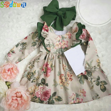 Vestidos Sodawn para niñas, ropa de primavera y otoño para niñas, vestido de princesa de manga larga con estampado de flores, ropa Vintage para niñas