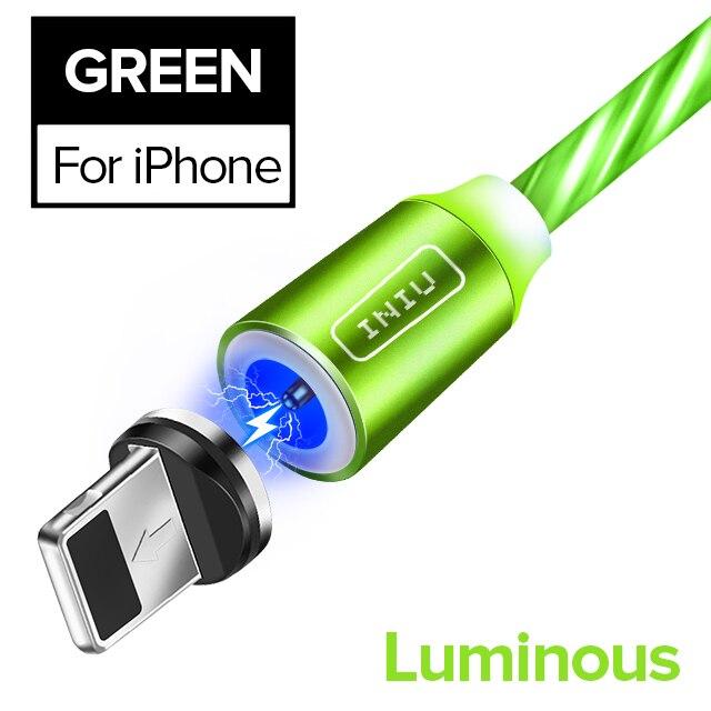 INIU световой поток магнитного освещения USB кабель для iPhone XR X 7 8 микро Тип C зарядное устройство Быстрая зарядка магнит зарядка USB-C тип-c - Цвет: For iPhone Green