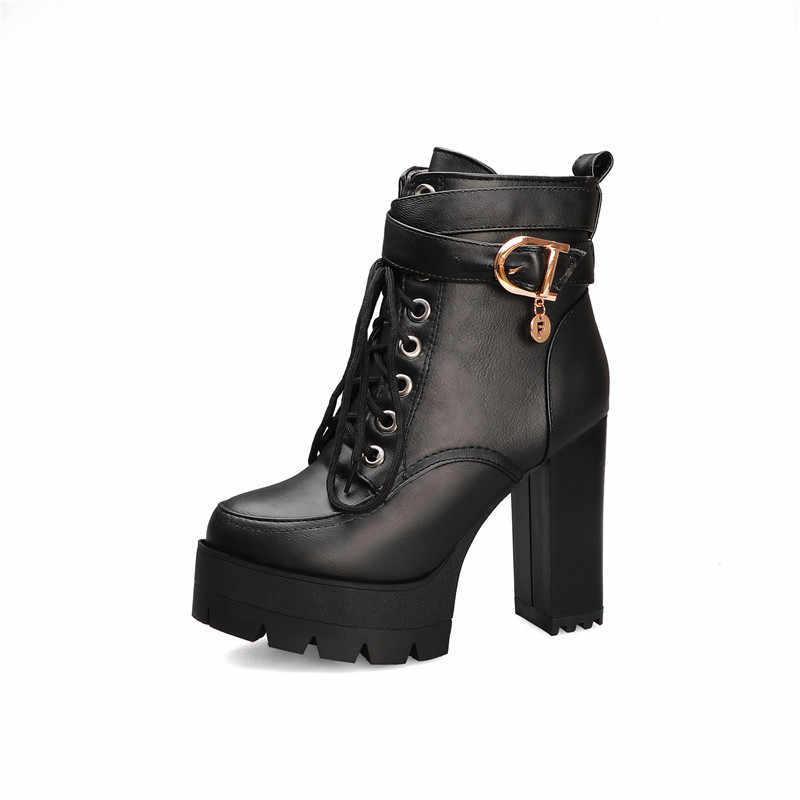 MORAZORA 2020 plus größe 43 stiefeletten frauen super high heels plattform stiefel lace up runde kappe kleid party prom schuhe damen